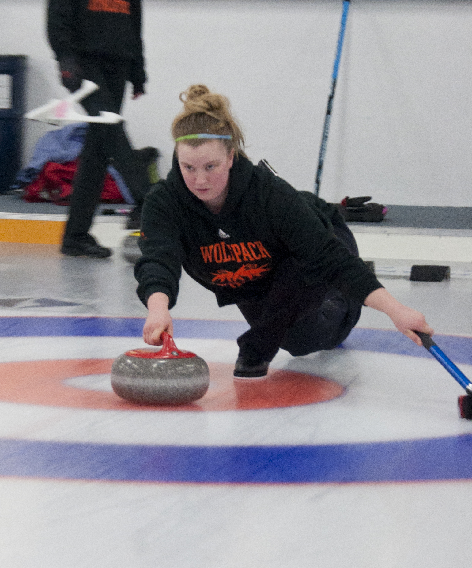 Skip Tiffany Krausher delivers a stone at practice Jan. 16 at the Kamloops Curling Club. - Photo by Adam Williams