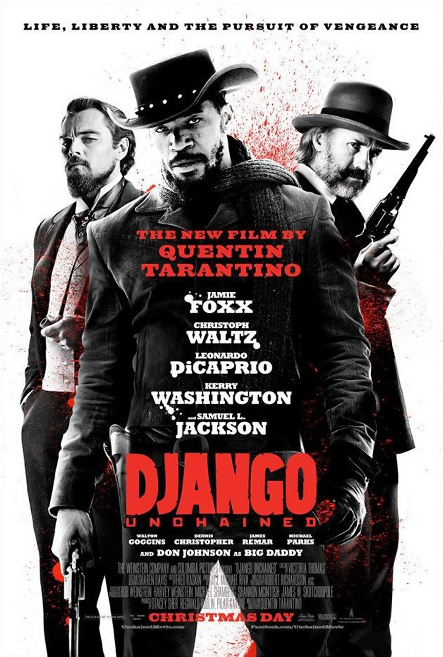 Django Unchained stars Jamie Foxx and Christoph Waltz as slavery-era bounty hunters in the southern United States.