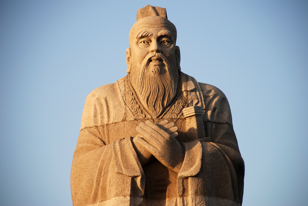 This statue, found in Hunan, China on the shore of Dongting Lake, depicts Confucius. - Photo by ROb Web/ Flickr Creative Commons