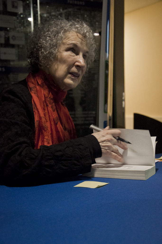 Author Margaret Atwood talked to students and community members about films she's seen in airplanes, her hair and answered audience questions Friday, Feb. 15, but mostly she stuck to zombies. - Photo by Julia Marks