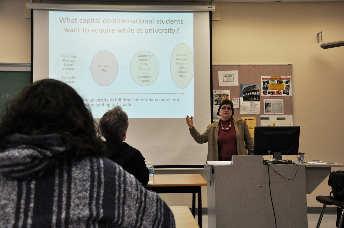 Nancy Bepple presents results from her survey of international students about Canadian job goals. - Photo by Karla Karcioglu