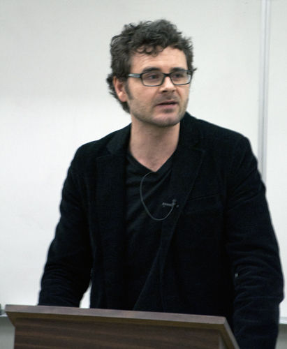 Jeffery Webber from Queen Mary, University of London, talks about the political left in Latin America during International Days on Feb. 5. - Photo by Devan C. Tasa