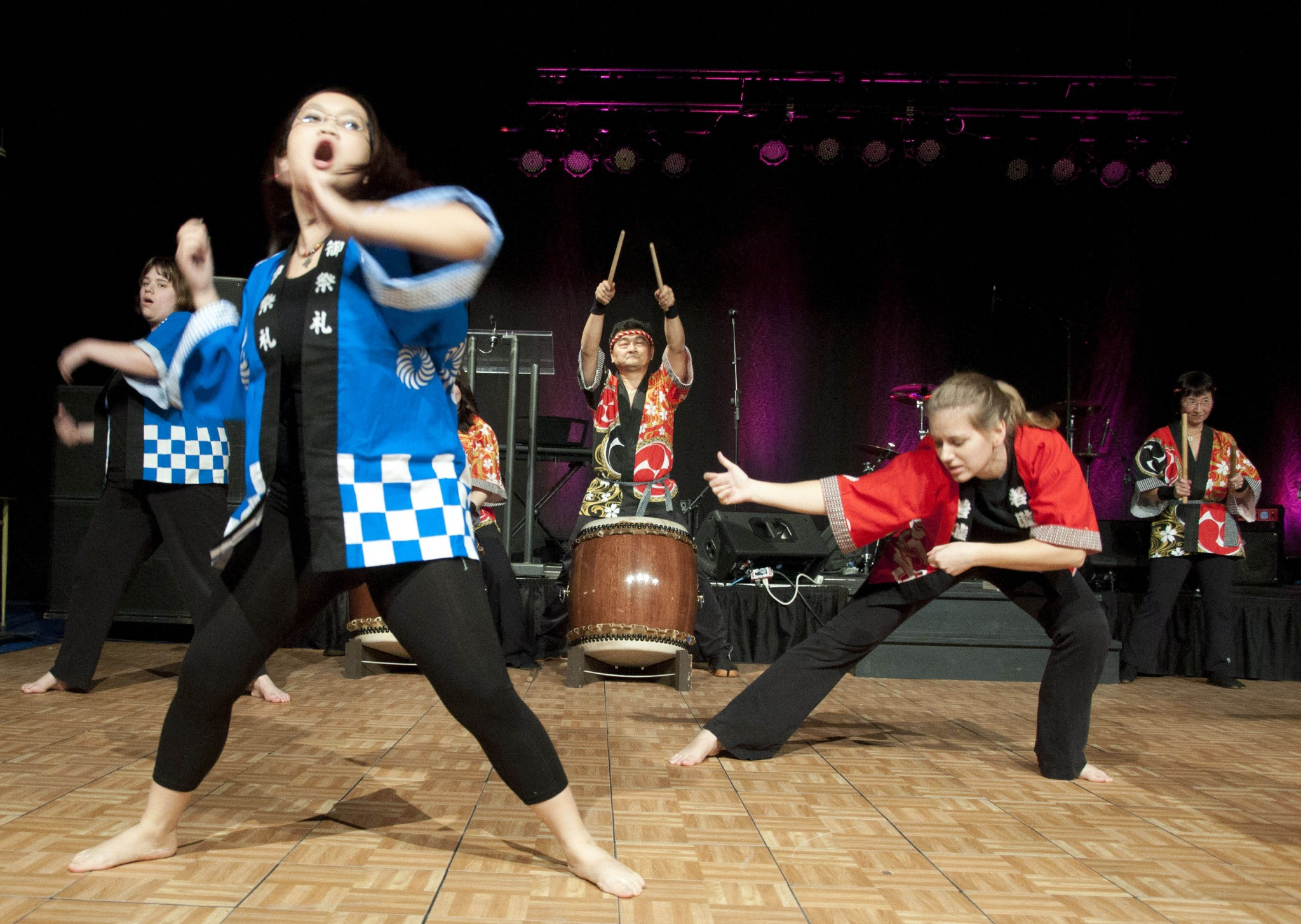 Mary-Grace Maung (blue) and Tiffany Rivette (red) performing the Soran Bushi at the International Days showcase. - Photo by Allison Declercq-Matthas
