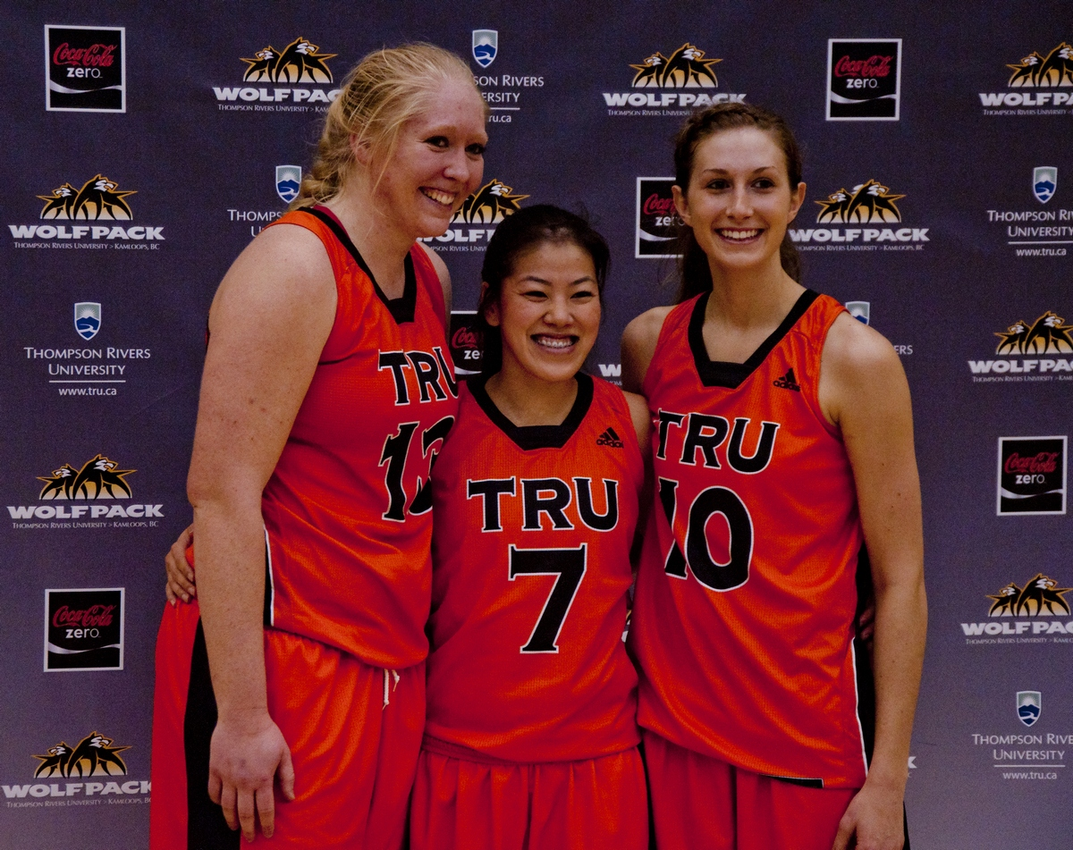 Diane Schuetze, Jen Ju and Tracy Kocs played their final home game for the TRU WolfPack Feb. 1, at the TCC. The WolfPack will look to the three seniors to lead their charge in the Canada West post-season. - Photo by Adam Williams