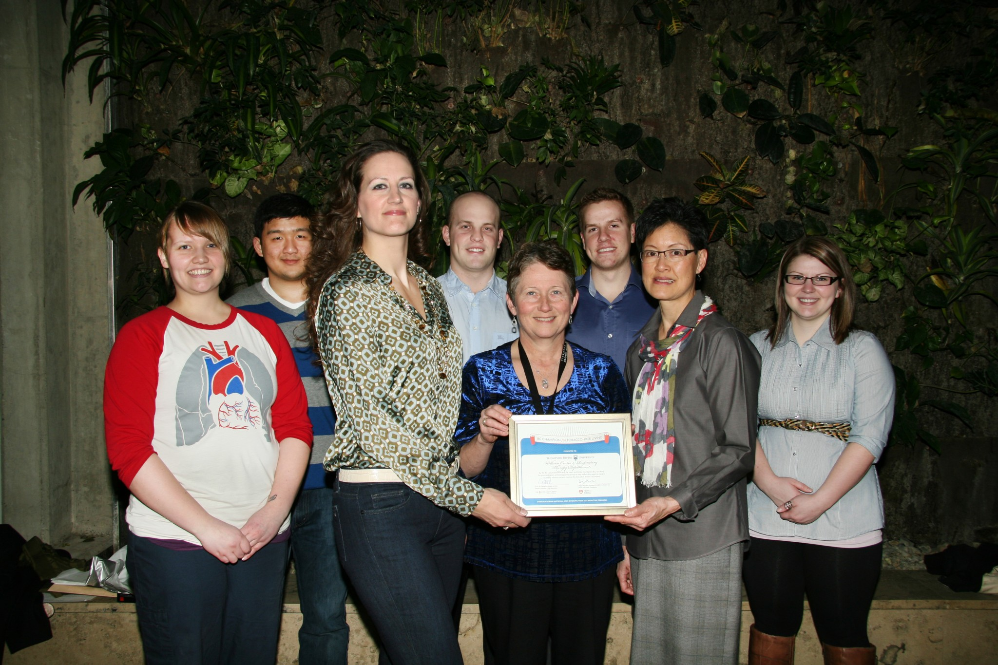 The Wellness Centre and the respiratory therapy department received an award Jan. 18 for their efforts towards tobacco reduction and smoking cessation. - Photo by Courtney Dickson