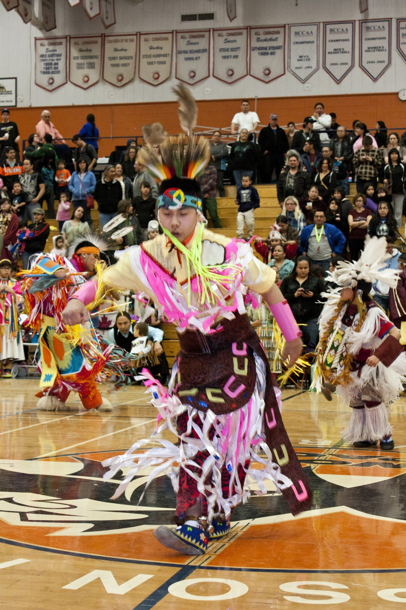 Atlan Anthony dances at the TRU traditional powwow. - PHOTO BY SEAN BRADY