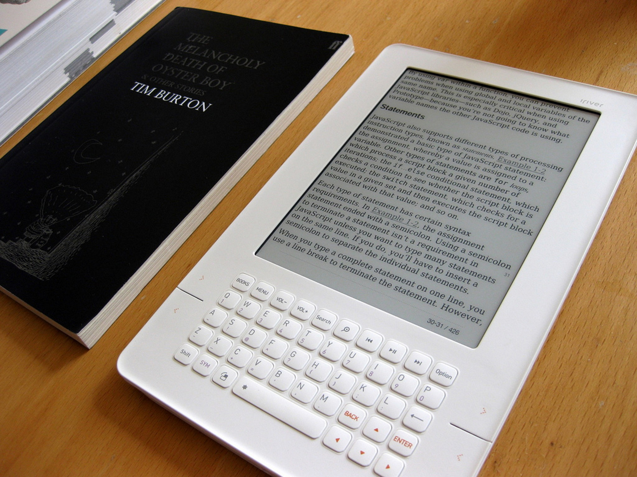 An iRiver E-book shows a textbook about JavaScript. - PHOTO BY ANDREW MASON.