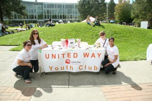 Former youth engagement director of United Way Kamloops Amy Berard (back right) attends TRUSU clubs day 2012 to help spread her message and garner interest in those looking to help out in their community. Thompson Rivers University/Flickr