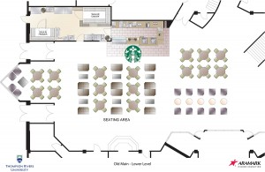A floor plan for the lower level of Old Main showing the new Starbucks. (TRU/Submitted)