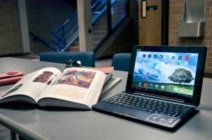 Open laptops when studying or in classrooms are a common sight on the TRU campus, but they might be impacting the focus of those around you. Mark Hendricks/The Omega