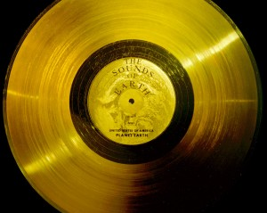 A gold disc created by NASA containing sounds from Earth. It, along with Voyager 1 has officially left the solar system. Courtesy NASA/JPL.