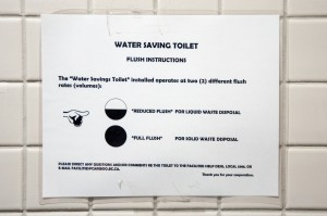 Dual-flush toilet instructions proved inadequate in TRU's International Building. Karla Karcioglu/The Omega