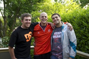 Matt Adkin (left) and Nour Baz (right) pose with Gardner the day he was released from Vancouver General Hospital in June 2013. Photo submitted.