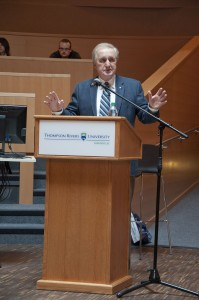 Roy Romanow addresses the audience in the Irving K. Barber Centre on Oct. 16. Karla Karcioglu/The Omega