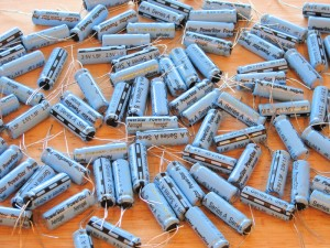 Traditional supercapacitors, like these, are made from carbon. The new supercapacitors from Vanderbilt University will consist of graphene-coated silicon. Windell Oskay/Flickr Commons