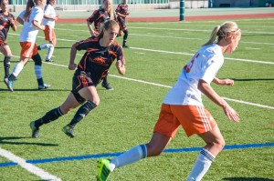 Alanna Bekkering chases down the ball in her final game at Hillside Stadium. Adam Williams/The Omega