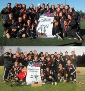 The winning WolfPack men's and women's soccer teams. Both will be advancing to nationals. Photos courtesy Bruce Dunlop/VIU