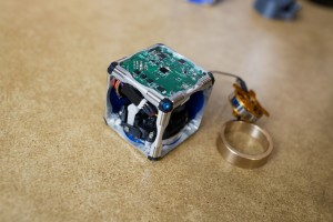 One of the self-assembling cubes at MIT with the sides taken off and the flywheel removed. M. Scott Brauer/MIT