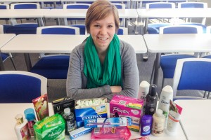 Olivia Skagos has already gathered some donations for the TRUSU tampon drive, but hopes to see a lot more come in. Karla Karcioglu/The Omega