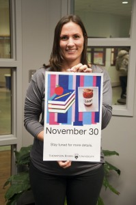 Julie Taylor holds the poster for TRU's first ever Exam Jam, to be held on Nov. 30. Karla Karcioglu/The Omega
