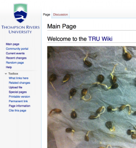 The current home page for the TRU wiki. The photo on the home page is a temporary inside joke at the wiki being in the germination stage, according to Lamb. Image courtesy Brian Lamb