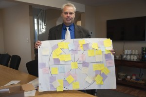 TRUFA president Jason Brown holds up a diagram of values that TRU faculty recognize as important to the university. Karla Karcioglu/The Omega
