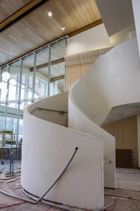 This staircase to the fourth floor is yet to be completed. VP admin and finance Matt Milovick said that the opening of the staircase was delayed two weeks. Sean Brady/The Omega