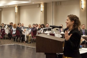 TRU professor, Jenna Woodrow addresses conference attendees during the banquet Jan. 18. Taylor Fry/The Omega