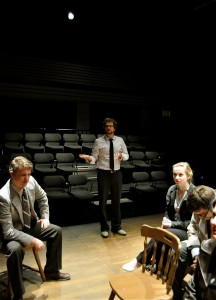 Eccleston directing students during his latest production with TRU's Actors Workshop Theatre, An Enemy of the People. Photo courtesy Andrew Cooper