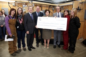 RBC Foundation donated $700,000 to support women in trades programs at TRU. RBC officials presented TRU president Alan Shaver and the first four recipients with grants on Feb. 12. Jessica Klymchuk/The Omega