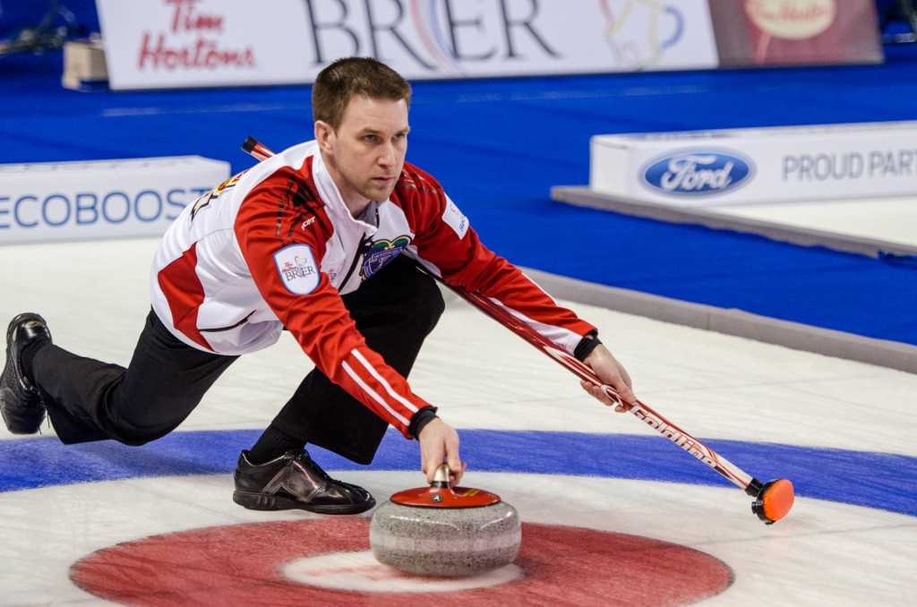 Newfoundland and Labrador's Brad Gushue put 4 on the board in the 11th end for a 10-6 victory over Quebec. Sean Brady/The Omega