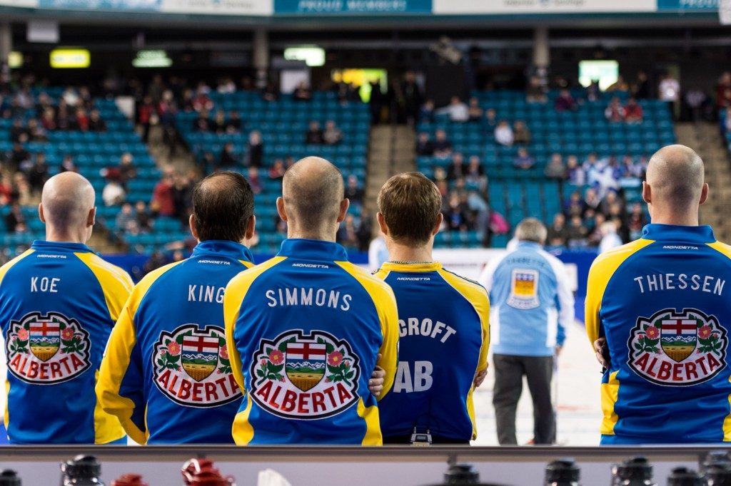 Team Alberta stands ready before Saturday's semifinal against Quebec. Sean Brady/The Omega