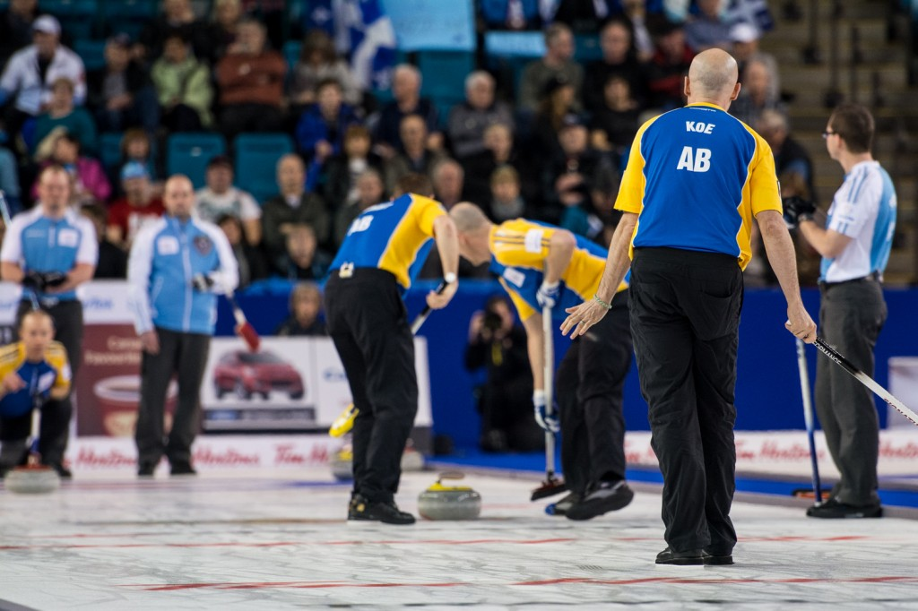 Alberta skip Kevin Koe finished round robin play with a cumulative shot percentage of 85, 2 per cent off tournament leader and B.C. third Jim Cotter (throwing skip stones). Sean Brady/The Omega
