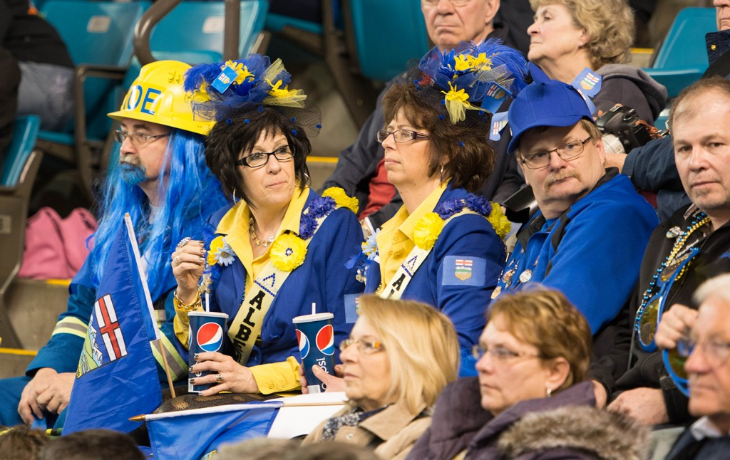 Fans of Team Alberta (Koe) left disappointed after the first playoff match of the 2014 Brier on Friday, March 7 against Team B.C. (Morris), but they sure enjoyed themselves while they were there. Mike Davies/The Omega