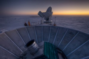 South pole research station BICEP2 has detected gravitational waves from the big bang that are predicted by the inflation theory. Image courtesy Steffen Richter (Harvard University)