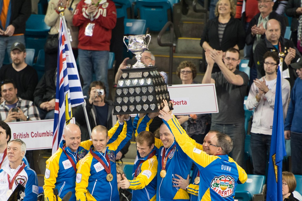 Ladies and gentlemen, your 2014 Brier champions, Team Alberta, skipped by Kevin Koe.  The rink will now head to Bejing, China to represent Canada at the 2014 World Championship, as well as gaining the honour of being Team Canada at the 2014 Canada Cup in Camrose , Alta and the 2015 World Financial Group Continental Cup next January in Calgary.  Mike Davies/The Omega