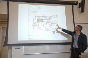 Robert Diab shows TRU students the map of the G20 Toronto summit during his talk at TRU March 5. Karla Karcioglu/The Omega