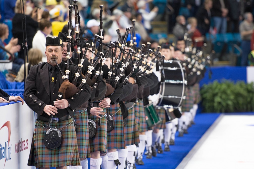 Yes – there are always bagpipes at curling bonspiels, and the Brier is certainly no exception.   Mike Davies/The Omega