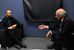 EIC Mike Davies interviews Peter Mansbridge in January 2012. File photo.