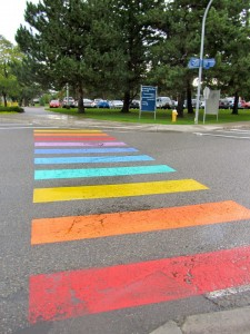 TRU's rainbow crosswalk was painted in September 2013. Photo courtesy Nic Zdunich