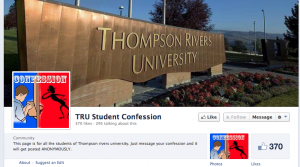 The third TRU Student Confessions page was created on March 26, hours after the second one was removed. Screen shot from April 4.