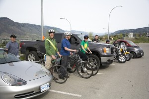 The participants of the 2014 Kamloops Bike to Work Week Commuter Challenge await their instructions in Lot H at TRU. -Mike Davies/The Omega