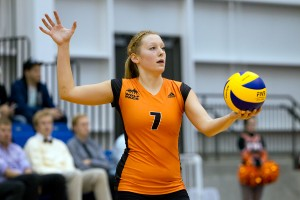 Kara Twomey makes her return to WolfPack volleyball after two years off, bringing much needed experience to the team, as they try to improve on a dismal 0-22 season. Image courtesy TRU Athletics