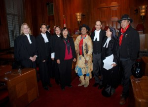 Tsilhqot'in and counsel with legal team representing the Secwepemc, Okanagan and Union of BC Indian Chiefs Interveners before the Supreme Court on Nov. 7, 2013. (Nicole Schabus/Contributed)