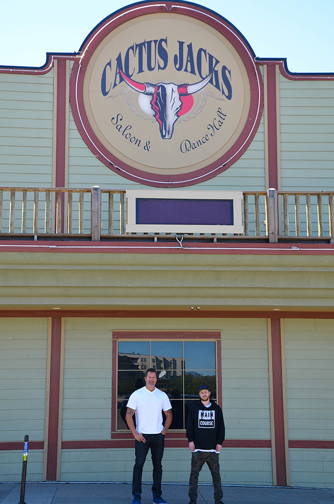 Cactus Jacks general manager Rob Medves and booking agent and promoter Mikael Finley in front of the newly renovated Kamloops nightclub. (Kim Anderson/The Omega)