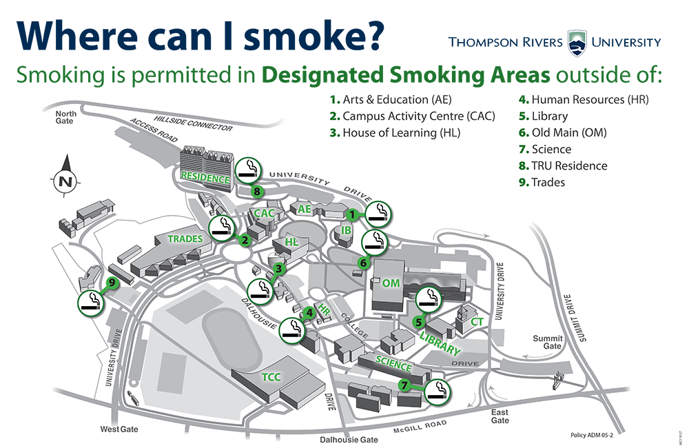 This map, provided by the university, shows the locations of all nine of the designated smoking areas.