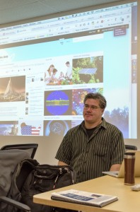 Brian Lamb demonstrates how WordPress can enhance a digital class- room. (Ryan Turcot/The Omega)