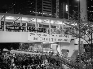 A hand-made sign hung-up near the sit-in protests in Civic Square, Hong Kong. (Willy AuYeung/Flickr)