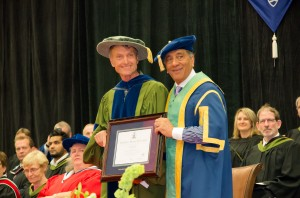Pat Morrow (left), receives his honorary doctorate and poses with TRU chancellor Wally Oppal (Alexis Stockford/The Omega)