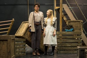 "Andrew Kushnir as the Boy and Holly Lewis as Wendy showcase their talents in ""Peter and the Starcatcher."" (Kim Anderson/ The Omega)"